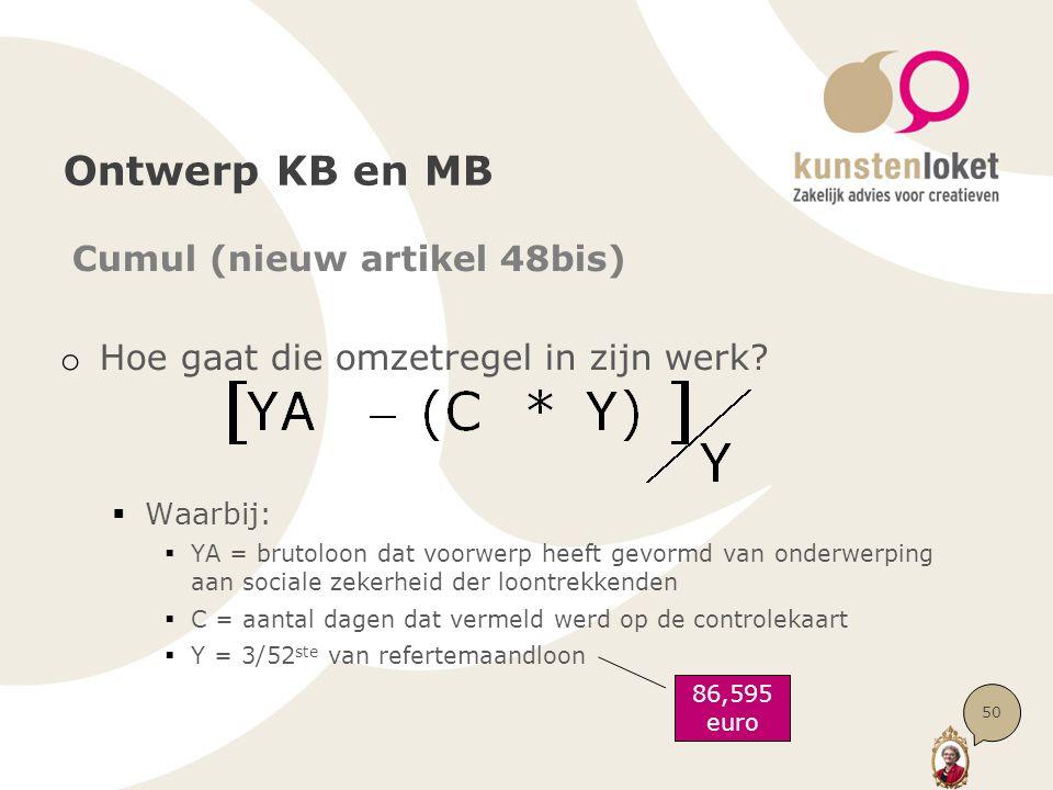 Ontwerp KB en MB Cumul (nieuw artikel 48bis) o Hoe gaat die omzetregel in zijn werk?  Waarbij:  YA = brutoloon dat voorwerp heeft gevormd van onderw