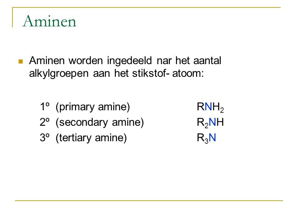 Naamgeving 1º aminen alkylamine  Bijvoorbeeld: methylamine CH 3 NH 2 ethylamine CH 3 CH 2 NH 2 butylamine CH 3 CH 2 CH 2 CH 2 NH 2 Symmetrische 2º or 3º amines dialkylamine of trialkylamine  Examples : diethylamine (CH 3 CH 2 ) 2 NH; trimethylamine (CH 3 ) 3 N