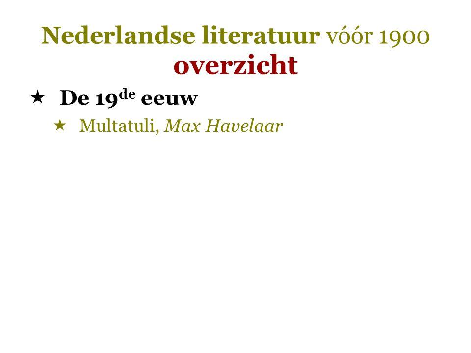 Nederlandse literatuur vóór 1900 overzicht  De 19 de eeuw  Multatuli, Max Havelaar