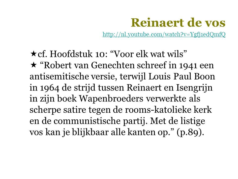 """Reinaert de vos http://nl.youtube.com/watch?v=Ygfj1edQmfQ  cf. Hoofdstuk 10: """"Voor elk wat wils""""  """"Robert van Genechten schreef in 1941 een antisemi"""