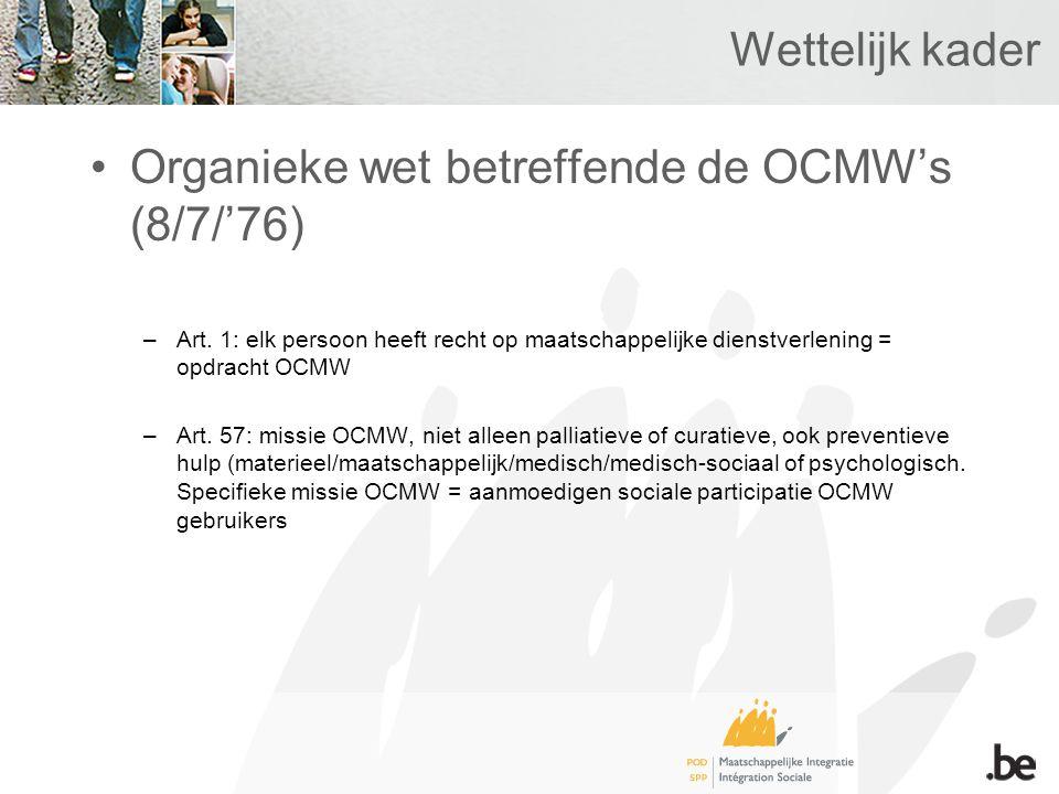 Wettelijk kader Organieke wet betreffende de OCMW's (8/7/'76) –Art.