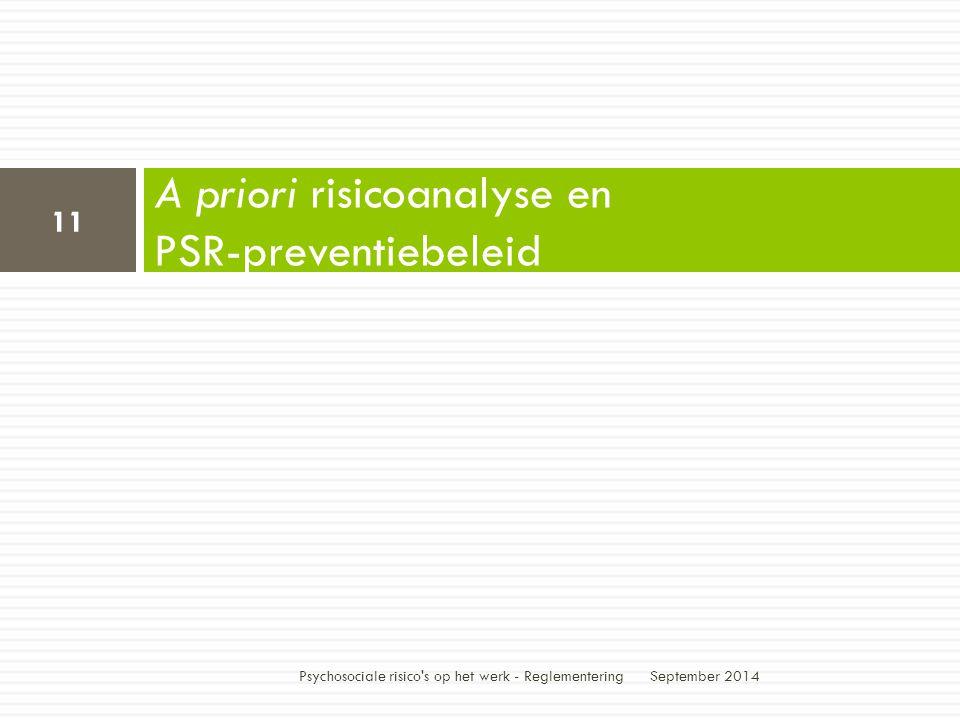 A priori risicoanalyse en PSR-preventiebeleid September 2014 11 Psychosociale risico s op het werk - Reglementering