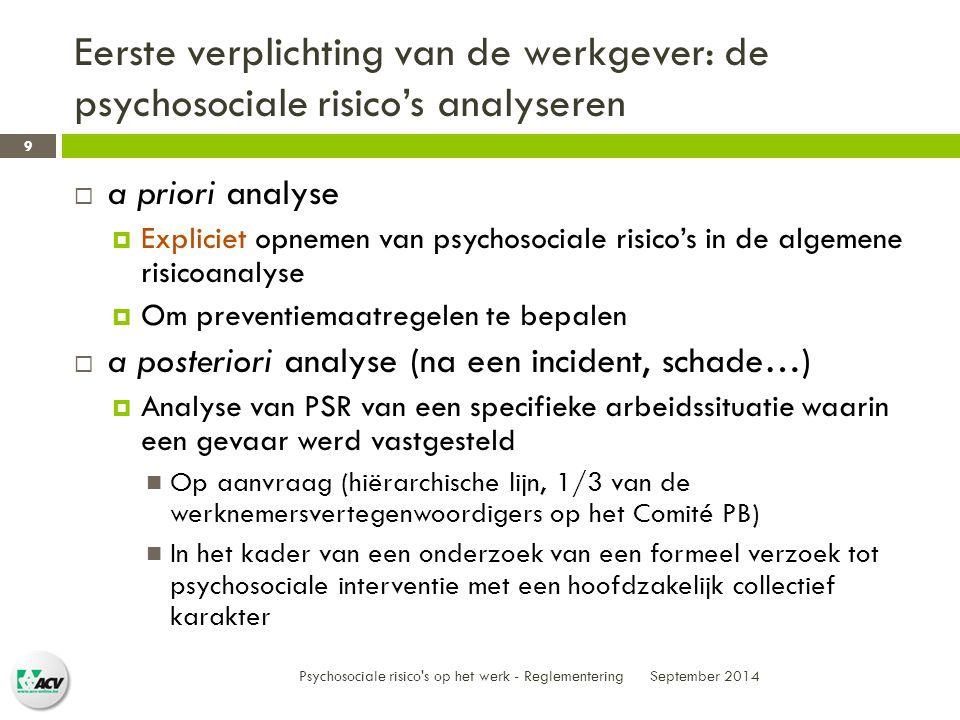 Eerste verplichting van de werkgever: de psychosociale risico's analyseren September 2014 Psychosociale risico s op het werk - Reglementering 9  a priori analyse  Expliciet opnemen van psychosociale risico's in de algemene risicoanalyse  Om preventiemaatregelen te bepalen  a posteriori analyse (na een incident, schade…)  Analyse van PSR van een specifieke arbeidssituatie waarin een gevaar werd vastgesteld Op aanvraag (hiërarchische lijn, 1/3 van de werknemersvertegenwoordigers op het Comité PB) In het kader van een onderzoek van een formeel verzoek tot psychosociale interventie met een hoofdzakelijk collectief karakter