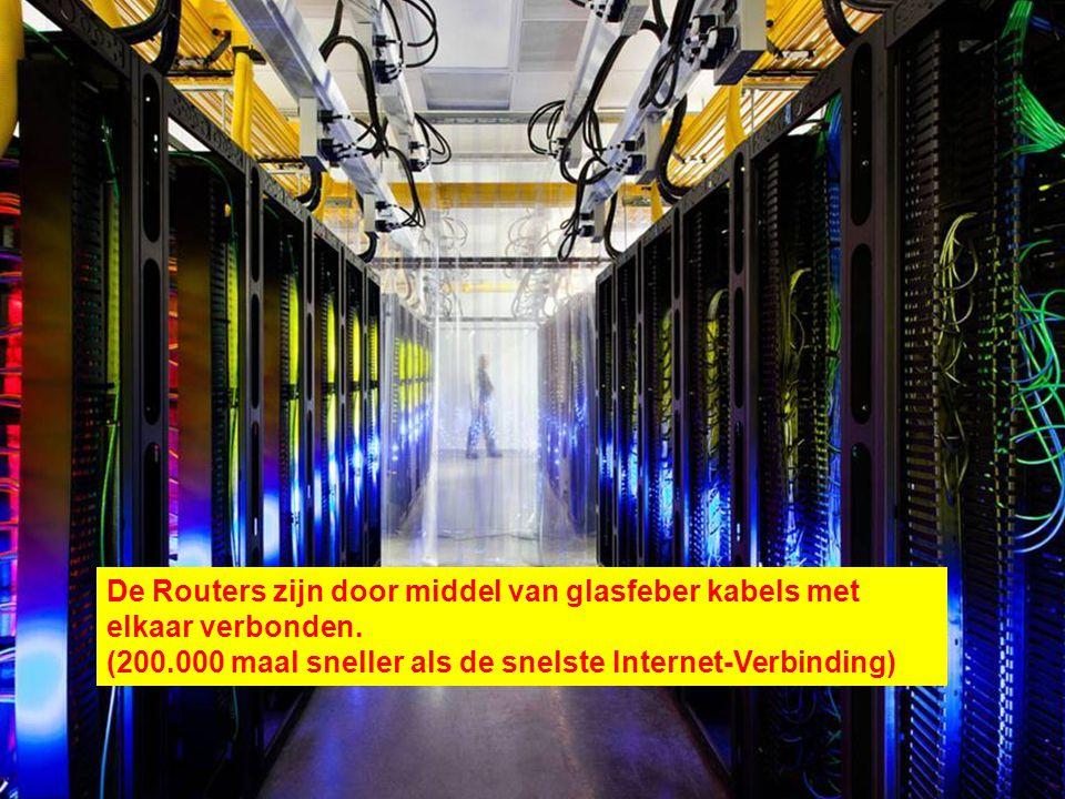 De Routers zijn door middel van glasfeber kabels met elkaar verbonden.