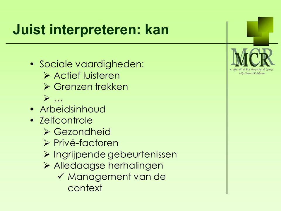 Juist interpreteren: kan Sociale vaardigheden:  Actief luisteren  Grenzen trekken  … Arbeidsinhoud Zelfcontrole  Gezondheid  Privé-factoren  Ing