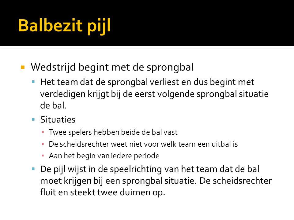 Balbezit pijl  Wedstrijd begint met de sprongbal  Het team dat de sprongbal verliest en dus begint met verdedigen krijgt bij de eerst volgende sprongbal situatie de bal.