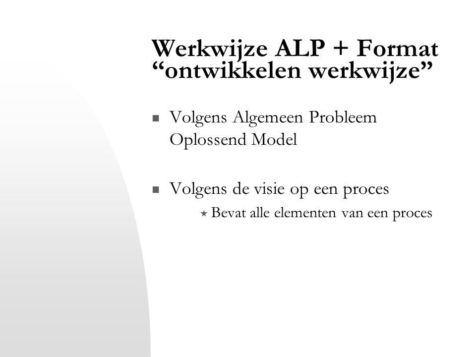 """Werkwijze ALP + Format """"ontwikkelen werkwijze"""" Volgens Algemeen Probleem Oplossend Model Volgens de visie op een proces  Bevat alle elementen van een"""