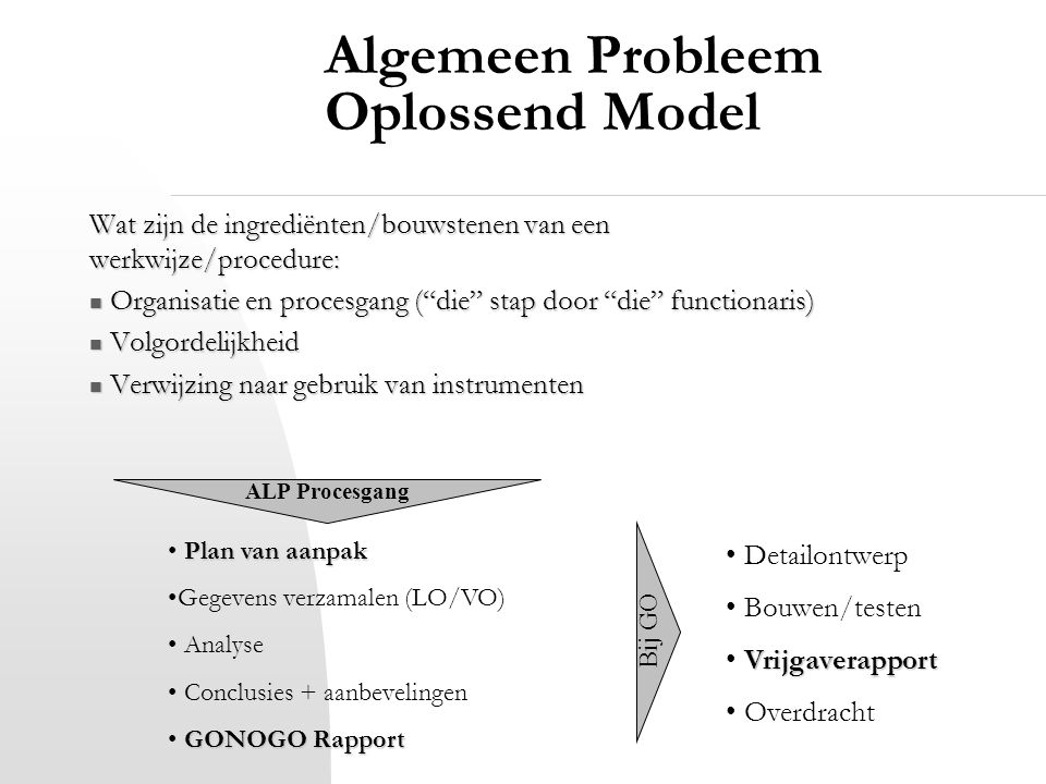 """Algemeen Probleem Oplossend Model Wat zijn de ingrediënten/bouwstenen van een werkwijze/procedure: Organisatie en procesgang (""""die"""" stap door """"die"""" fu"""