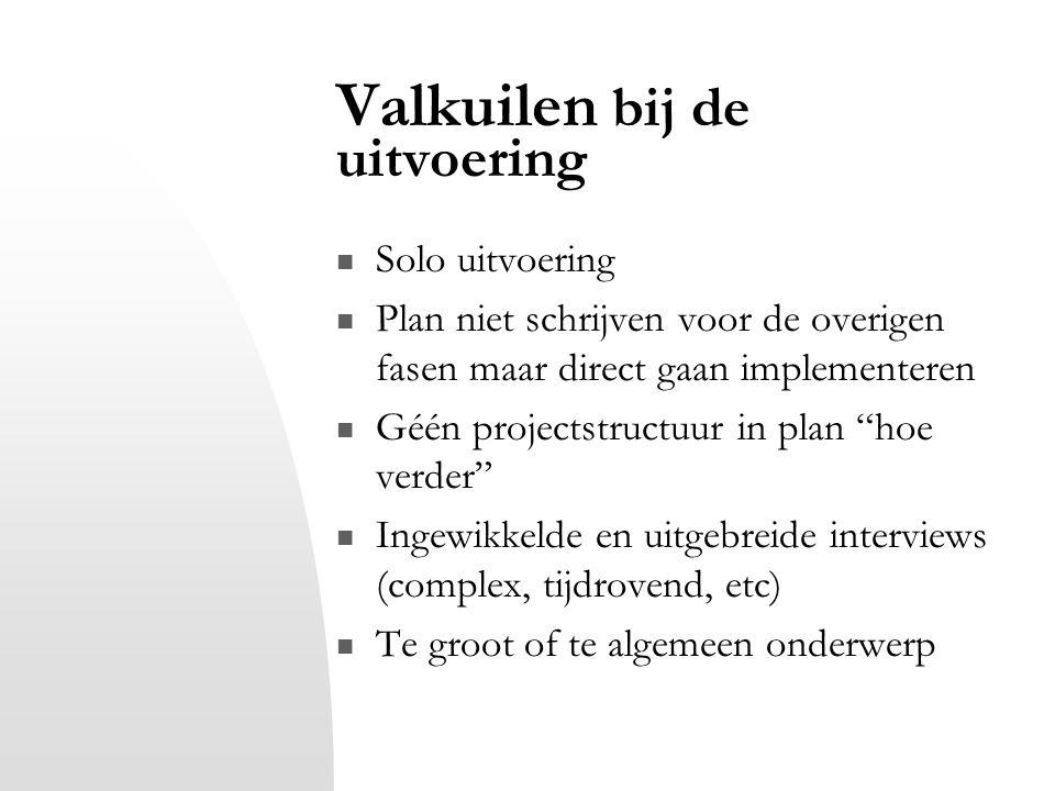 """Valkuilen bij de uitvoering Solo uitvoering Plan niet schrijven voor de overigen fasen maar direct gaan implementeren Géén projectstructuur in plan """"h"""