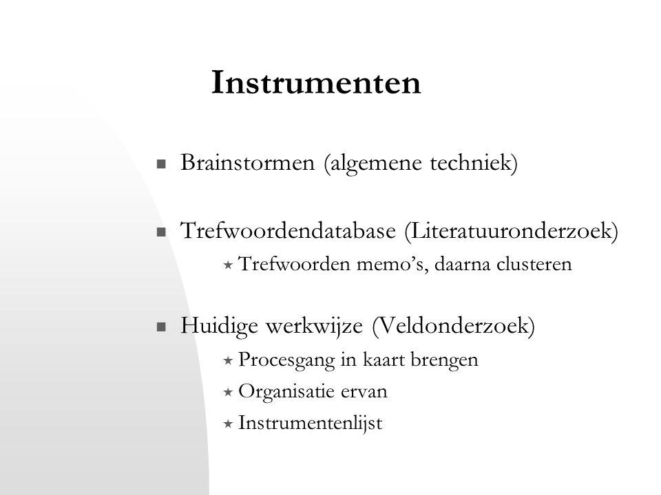 Instrumenten Brainstormen (algemene techniek) Trefwoordendatabase (Literatuuronderzoek)  Trefwoorden memo's, daarna clusteren Huidige werkwijze (Veld
