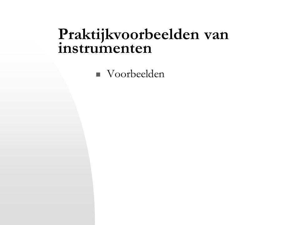 Praktijkvoorbeelden van instrumenten Voorbeelden
