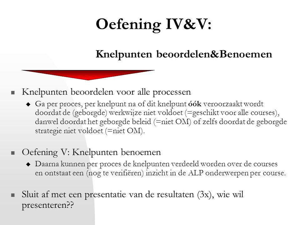 Oefening IV&V: Knelpunten beoordelen&Benoemen Knelpunten beoordelen voor alle processen  Ga per proces, per knelpunt na of dit knelpunt óók veroorzaa