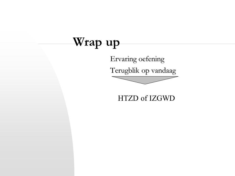 Wrap up Ervaring oefening Terugblik op vandaag HTZD of IZGWD