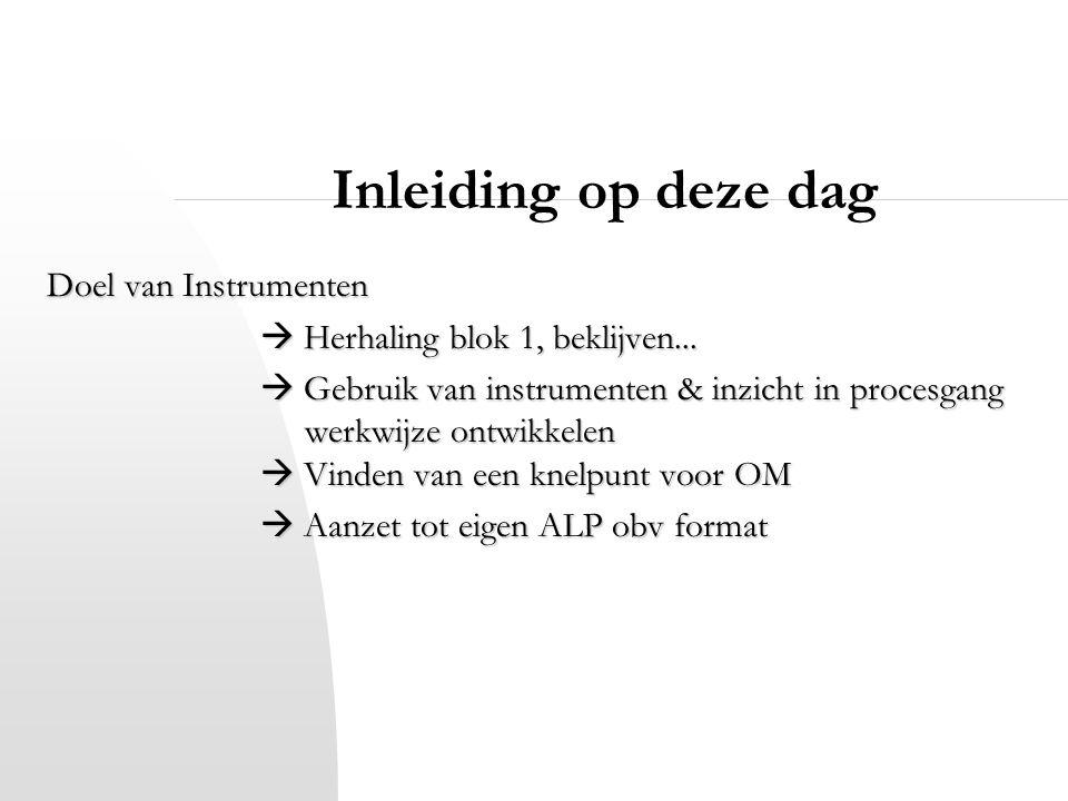 Inleiding op deze dag Doel van Instrumenten  Herhaling blok 1, beklijven...  Gebruik van instrumenten & inzicht in procesgang werkwijze ontwikkelen
