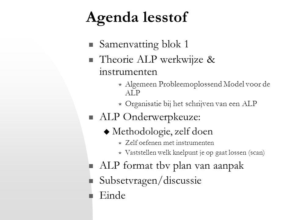 Agenda lesstof Samenvatting blok 1 Theorie ALP werkwijze & instrumenten  Algemeen Probleemoplossend Model voor de ALP  Organisatie bij het schrijven