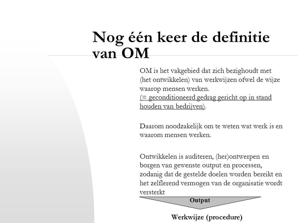 Nog één keer de definitie van OM OM is het vakgebied dat zich bezighoudt met (het ontwikkelen) van werkwijzen ofwel de wijze waarop mensen werken. (=