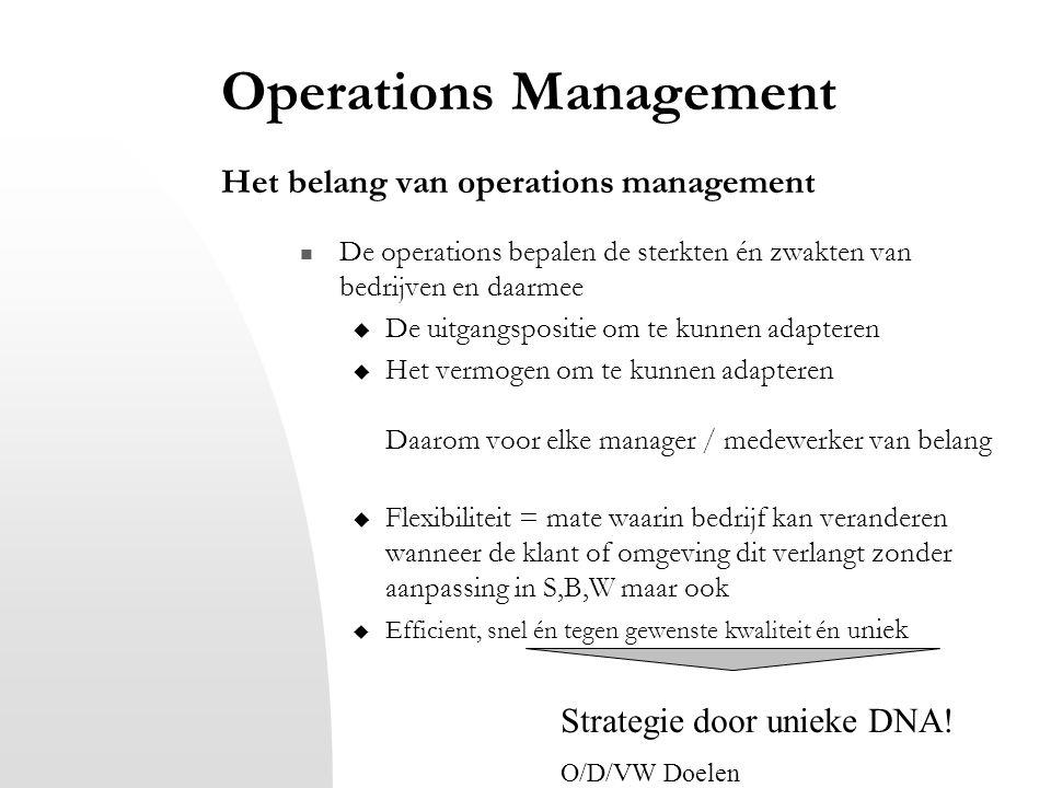 Operations Management Het belang van operations management De operations bepalen de sterkten én zwakten van bedrijven en daarmee  De uitgangspositie