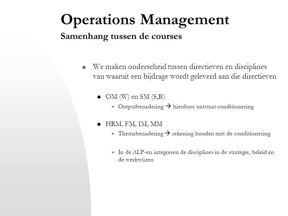 Operations Management Samenhang tussen de courses We maken onderscheid tussen directieven en disciplines van waaruit een bijdrage wordt geleverd aan d