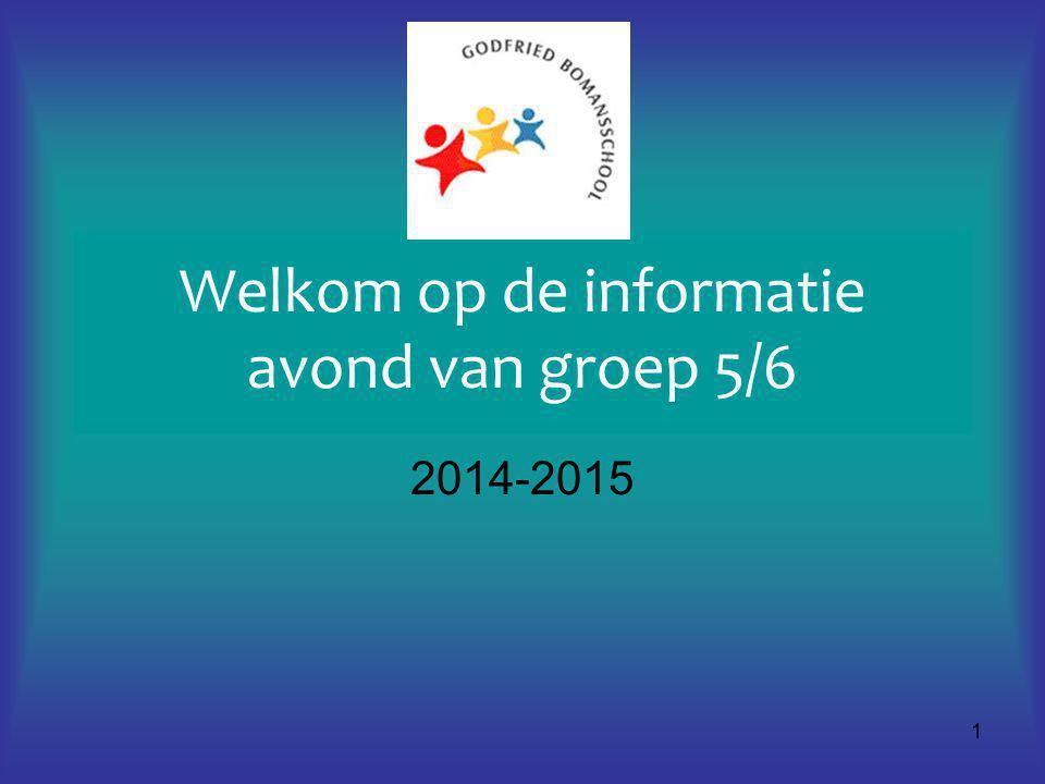 1 Welkom op de informatie avond van groep 5/6 2014-2015