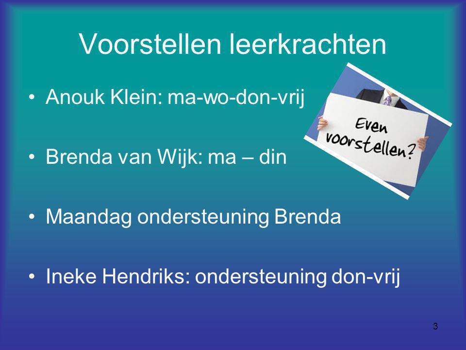 3 Voorstellen leerkrachten Anouk Klein: ma-wo-don-vrij Brenda van Wijk: ma – din Maandag ondersteuning Brenda Ineke Hendriks: ondersteuning don-vrij