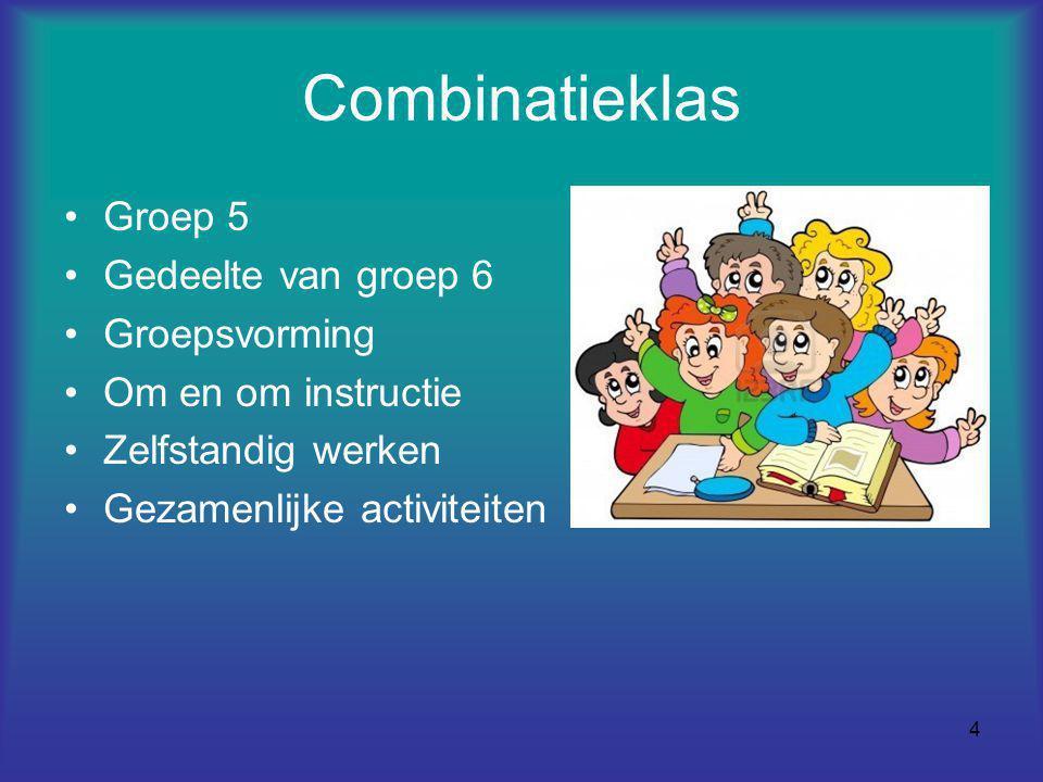 4 Combinatieklas Groep 5 Gedeelte van groep 6 Groepsvorming Om en om instructie Zelfstandig werken Gezamenlijke activiteiten