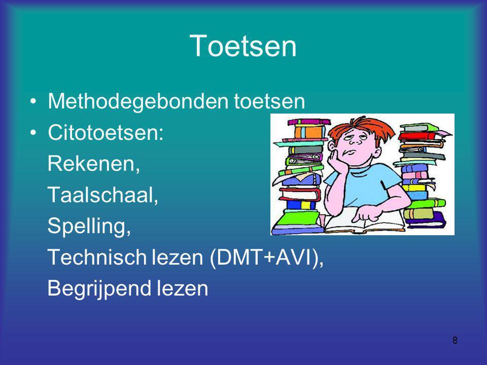 8 Toetsen Methodegebonden toetsen Citotoetsen: Rekenen, Taalschaal, Spelling, Technisch lezen (DMT+AVI), Begrijpend lezen