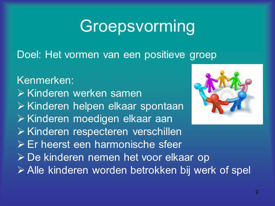 9 Groepsvorming Doel: Het vormen van een positieve groep Kenmerken:  Kinderen werken samen  Kinderen helpen elkaar spontaan  Kinderen moedigen elka
