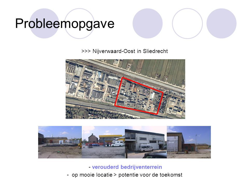Probleemopgave >>> Nijverwaard-Oost in Sliedrecht - verouderd bedrijventerrein - op mooie locatie > potentie voor de toekomst
