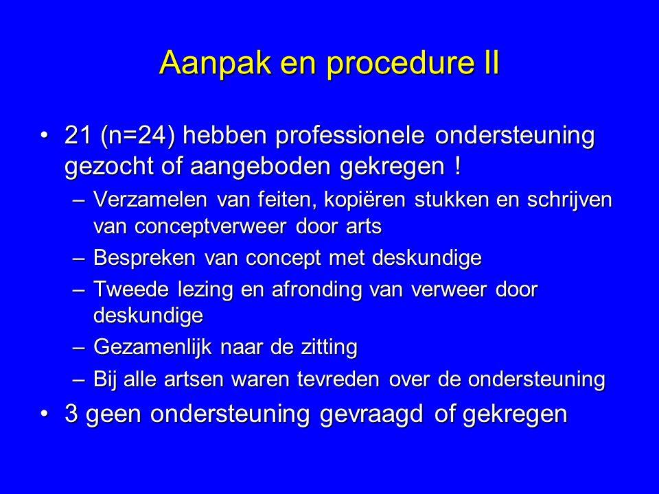 Aanpak en procedure II 21 (n=24) hebben professionele ondersteuning gezocht of aangeboden gekregen !21 (n=24) hebben professionele ondersteuning gezocht of aangeboden gekregen .