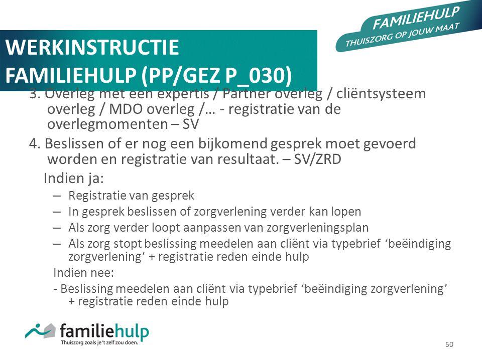 50 WERKINSTRUCTIE FAMILIEHULP (PP/GEZ P_030) 3. Overleg met een expertis / Partner overleg / cliëntsysteem overleg / MDO overleg /… - registratie van