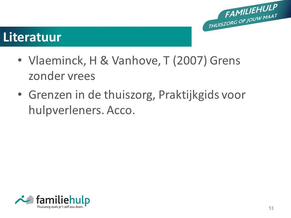 51 Literatuur Vlaeminck, H & Vanhove, T (2007) Grens zonder vrees Grenzen in de thuiszorg, Praktijkgids voor hulpverleners. Acco.