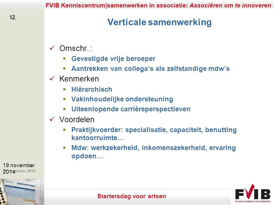 De meerwaarde van samenerking in een vrij beroep. 19 november 2014 FVIB Kenniscentrum|samenwerken in associatie: Associëren om te innoveren 12. 19 nov