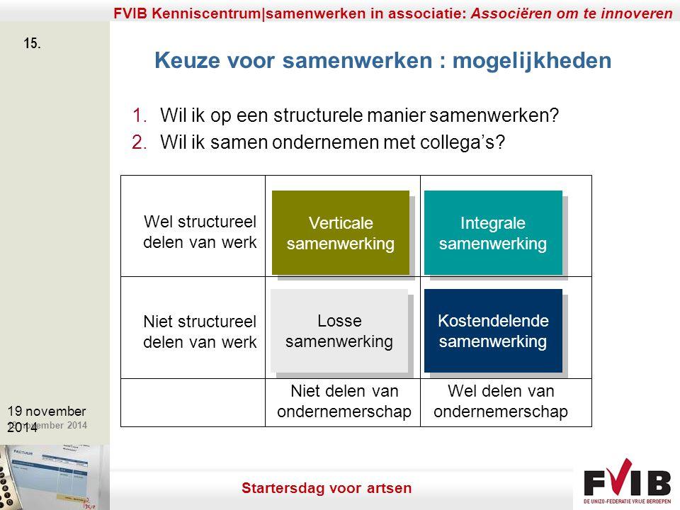 De meerwaarde van samenerking in een vrij beroep. 19 november 2014 FVIB Kenniscentrum|samenwerken in associatie: Associëren om te innoveren 15. 19 nov