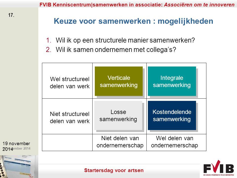 De meerwaarde van samenerking in een vrij beroep. 19 november 2014 FVIB Kenniscentrum|samenwerken in associatie: Associëren om te innoveren 17. 19 nov