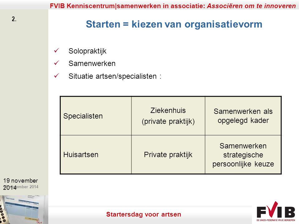 De meerwaarde van samenerking in een vrij beroep. 19 november 2014 FVIB Kenniscentrum|samenwerken in associatie: Associëren om te innoveren 2. 19 nove