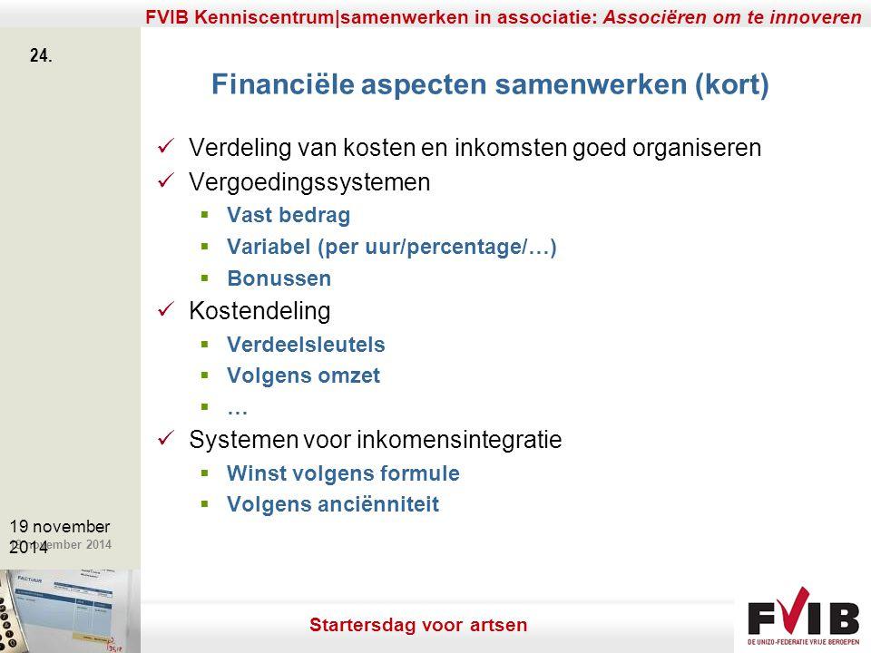 De meerwaarde van samenerking in een vrij beroep. 19 november 2014 FVIB Kenniscentrum|samenwerken in associatie: Associëren om te innoveren 24. 19 nov