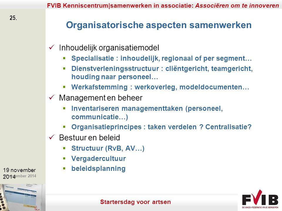 De meerwaarde van samenerking in een vrij beroep. 19 november 2014 FVIB Kenniscentrum|samenwerken in associatie: Associëren om te innoveren 25. 19 nov