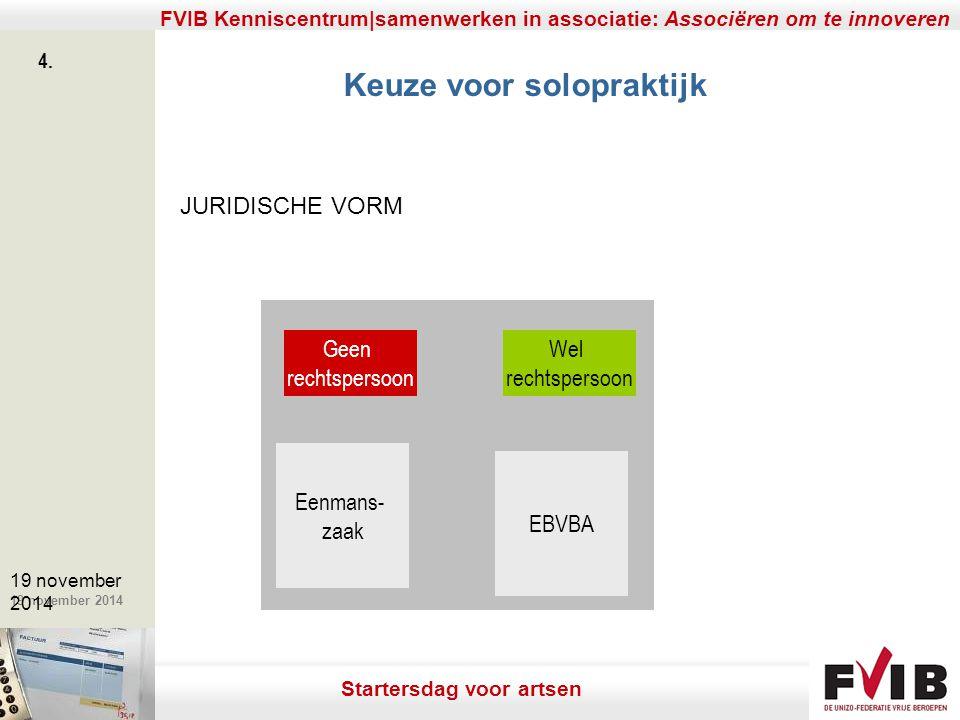 De meerwaarde van samenerking in een vrij beroep. 19 november 2014 FVIB Kenniscentrum|samenwerken in associatie: Associëren om te innoveren 4. 19 nove