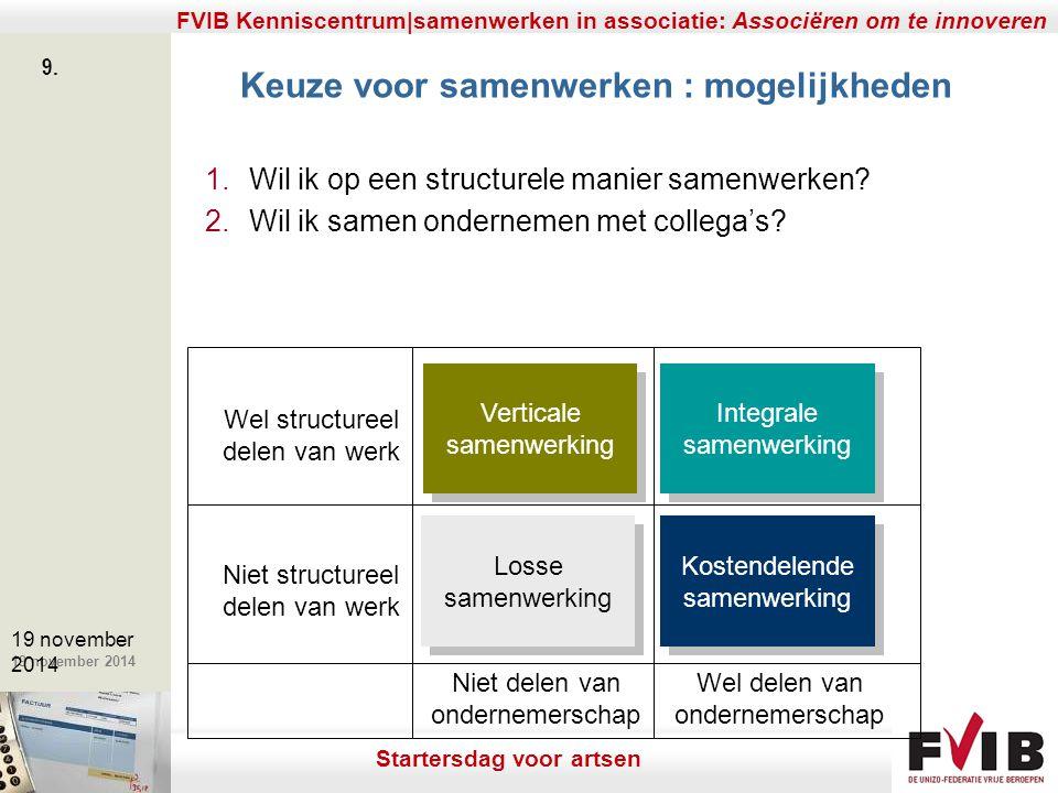 De meerwaarde van samenerking in een vrij beroep. 19 november 2014 FVIB Kenniscentrum|samenwerken in associatie: Associëren om te innoveren 9. 19 nove