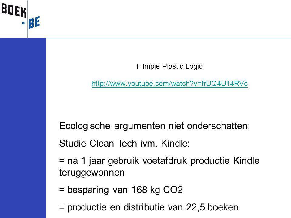 Filmpje Plastic Logic http://www.youtube.com/watch?v=frUQ4U14RVc Ecologische argumenten niet onderschatten: Studie Clean Tech ivm.