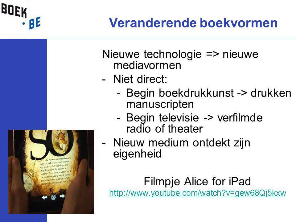 Nieuwe technologie => nieuwe mediavormen -Niet direct: -Begin boekdrukkunst -> drukken manuscripten -Begin televisie -> verfilmde radio of theater -Nieuw medium ontdekt zijn eigenheid Filmpje Alice for iPad http://www.youtube.com/watch?v=gew68Qj5kxw Veranderende boekvormen