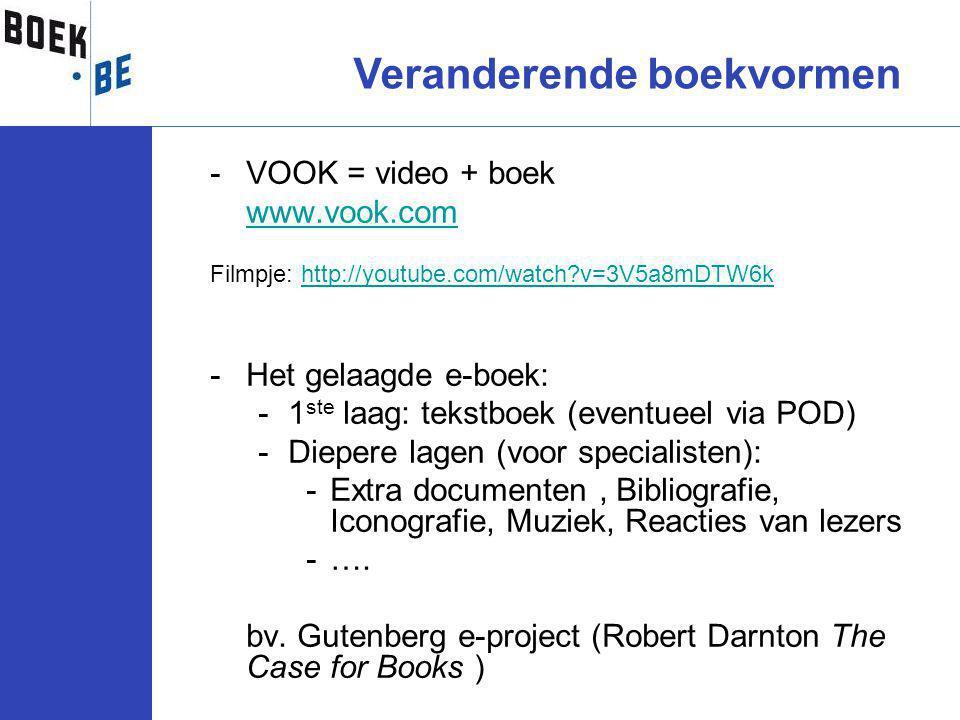 -VOOK = video + boek www.vook.com Filmpje: http://youtube.com/watch?v=3V5a8mDTW6khttp://youtube.com/watch?v=3V5a8mDTW6k -Het gelaagde e-boek: -1 ste laag: tekstboek (eventueel via POD) -Diepere lagen (voor specialisten): -Extra documenten, Bibliografie, Iconografie, Muziek, Reacties van lezers -….