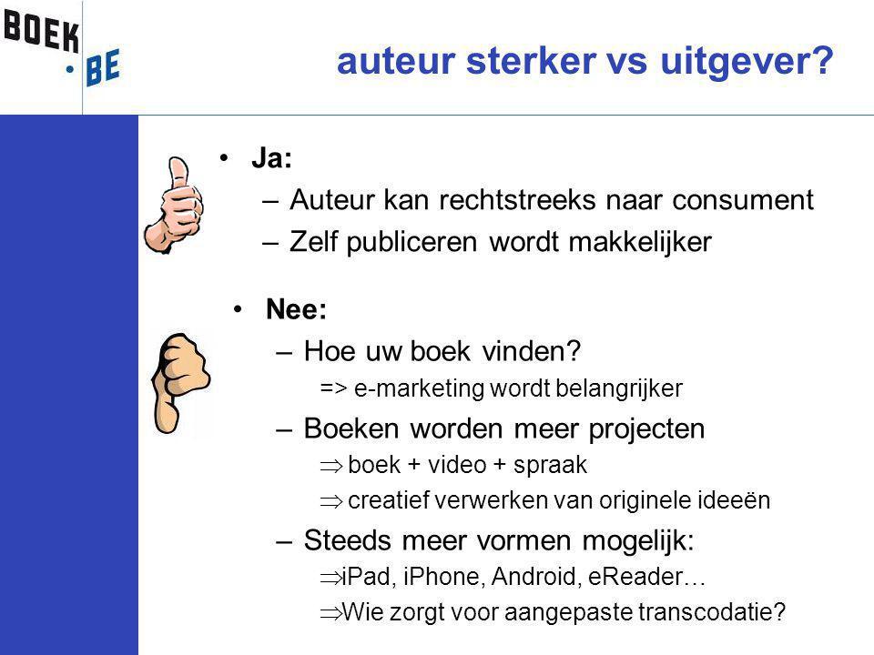 Ja: –Auteur kan rechtstreeks naar consument –Zelf publiceren wordt makkelijker auteur sterker vs uitgever.