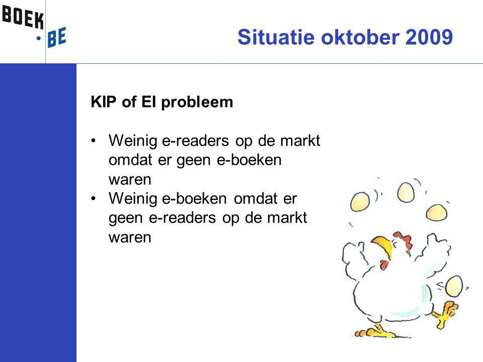 Situatie oktober 2009 KIP of EI probleem Weinig e-readers op de markt omdat er geen e-boeken waren Weinig e-boeken omdat er geen e-readers op de markt waren