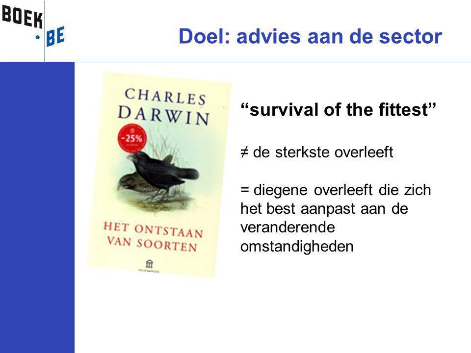 survival of the fittest ≠ de sterkste overleeft = diegene overleeft die zich het best aanpast aan de veranderende omstandigheden Doel: advies aan de sector