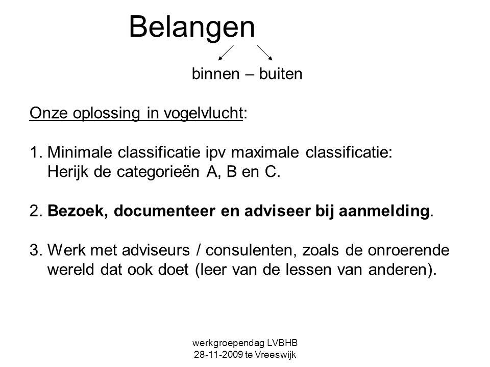 werkgroependag LVBHB 28-11-2009 te Vreeswijk Belangen binnen – buiten Onze oplossing in vogelvlucht: 1. Minimale classificatie ipv maximale classifica