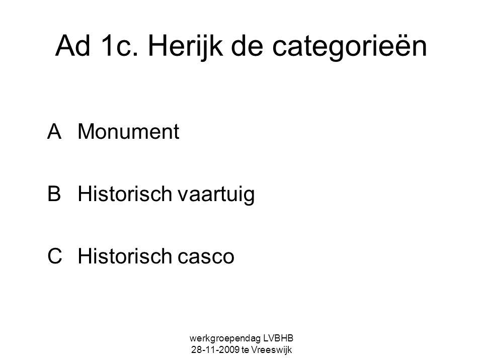 werkgroependag LVBHB 28-11-2009 te Vreeswijk Ad 1c. Herijk de categorieën AMonument BHistorisch vaartuig CHistorisch casco