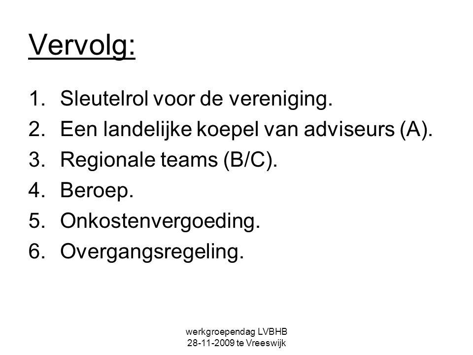 werkgroependag LVBHB 28-11-2009 te Vreeswijk Vervolg: 1.Sleutelrol voor de vereniging. 2.Een landelijke koepel van adviseurs (A). 3.Regionale teams (B