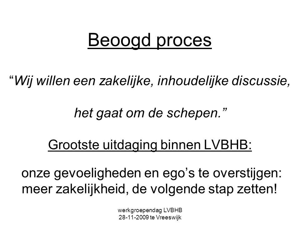 """werkgroependag LVBHB 28-11-2009 te Vreeswijk Beoogd proces """"Wij willen een zakelijke, inhoudelijke discussie, het gaat om de schepen."""" Grootste uitdag"""