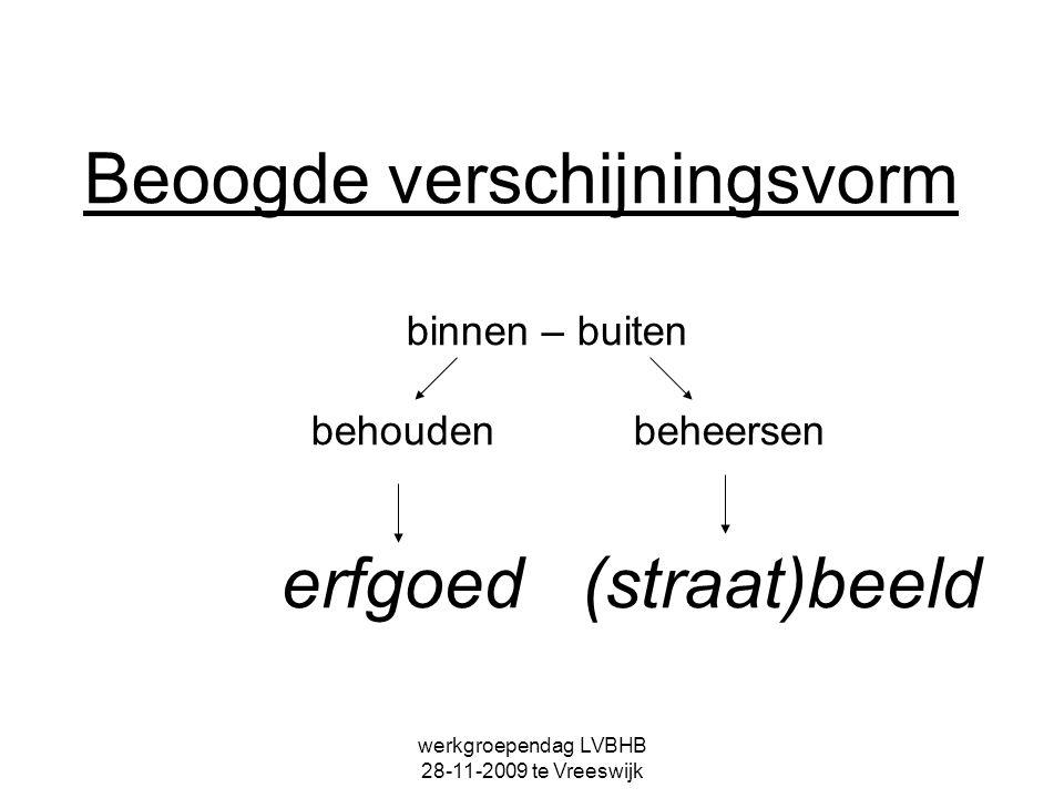 werkgroependag LVBHB 28-11-2009 te Vreeswijk Belangen binnen – buiten behouden beheersen conserveren classificeren documenteren waarderen status .